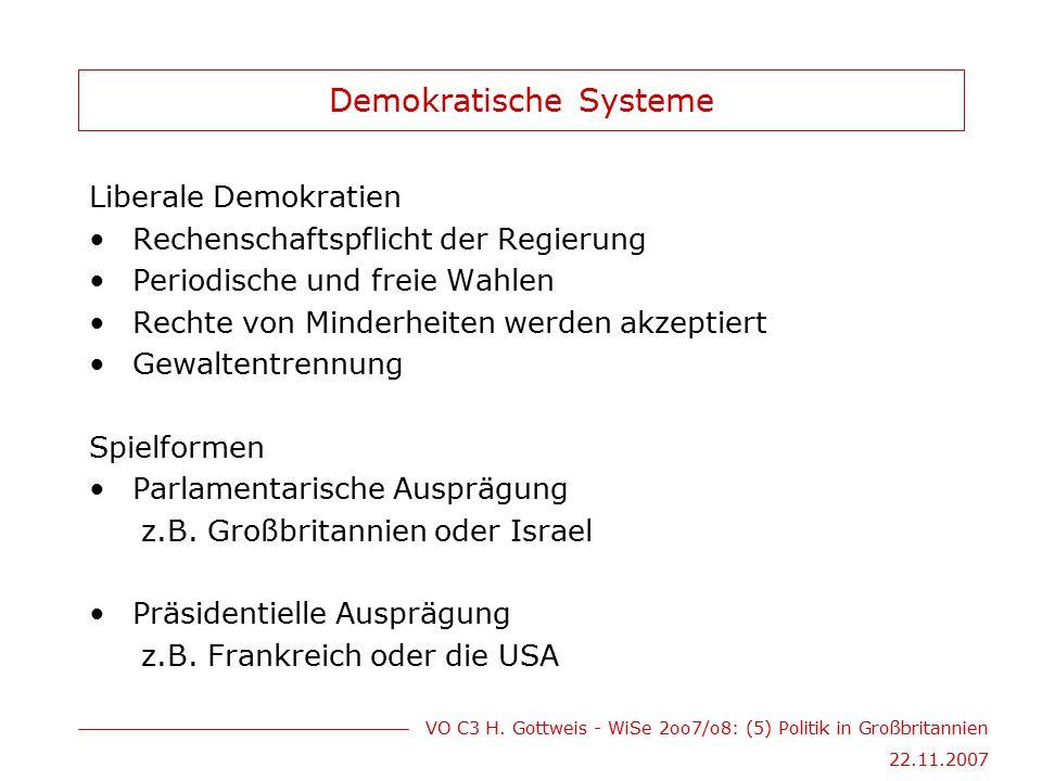 VO C3 H. Gottweis - WiSe 2oo7/o8: (5) Politik in Großbritannien 22.11.2007 Demokratische Systeme Liberale Demokratien Rechenschaftspflicht der Regieru