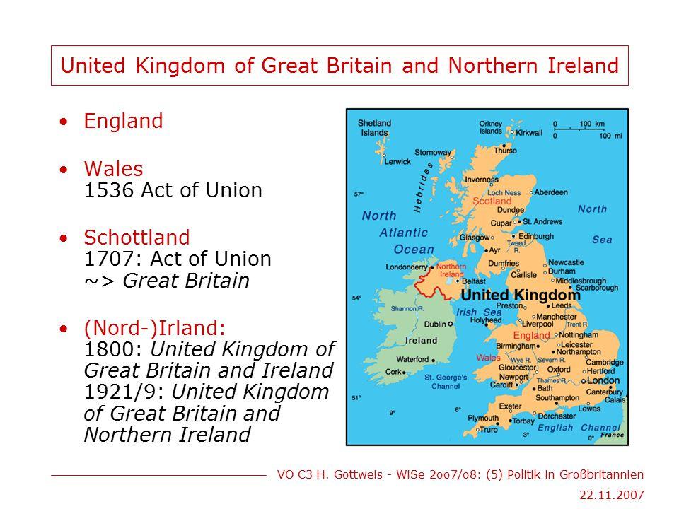 VO C3 H.Gottweis - WiSe 2oo7/o8: (5) Politik in Großbritannien 22.11.2007 Werte des 3.