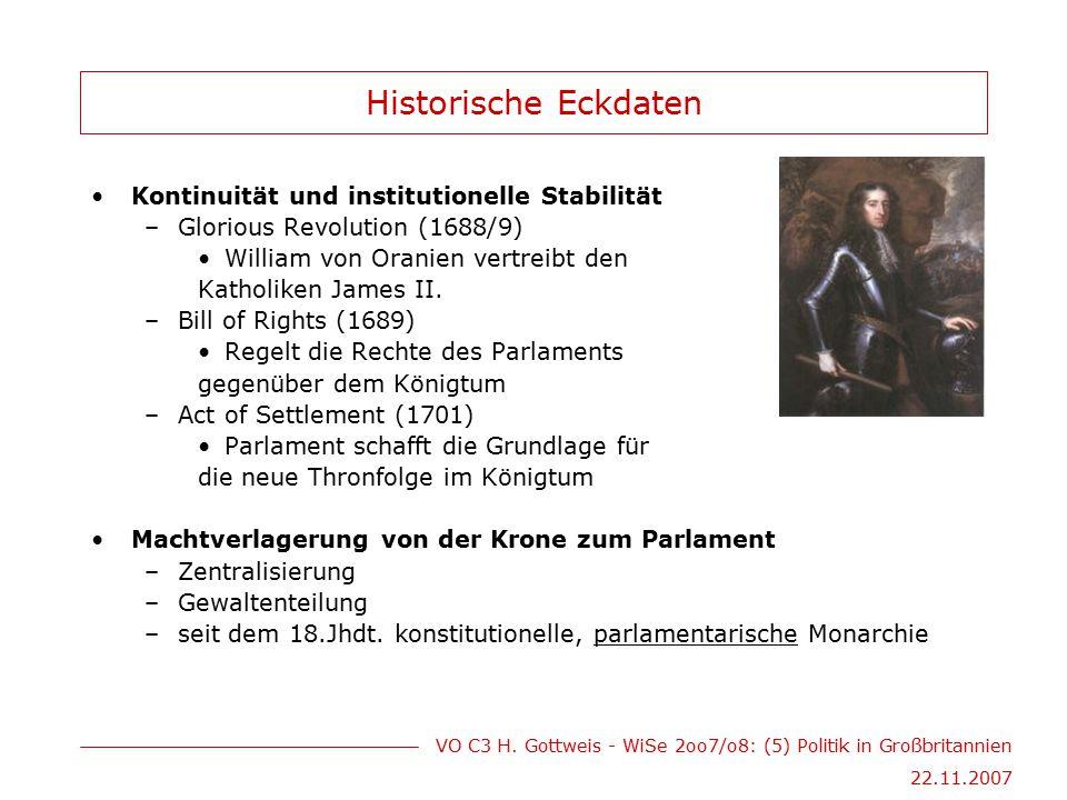 VO C3 H. Gottweis - WiSe 2oo7/o8: (5) Politik in Großbritannien 22.11.2007 Historische Eckdaten Kontinuität und institutionelle Stabilität –Glorious R