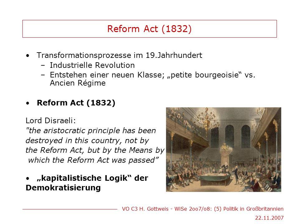 VO C3 H. Gottweis - WiSe 2oo7/o8: (5) Politik in Großbritannien 22.11.2007 Reform Act (1832) Transformationsprozesse im 19.Jahrhundert –Industrielle R