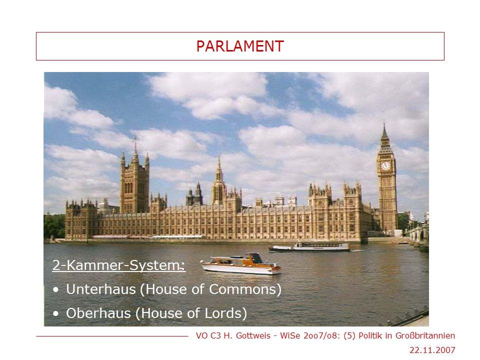 VO C3 H. Gottweis - WiSe 2oo7/o8: (5) Politik in Großbritannien 22.11.2007 PARLAMENT 2-Kammer-System: Unterhaus (House of Commons) Oberhaus (House of