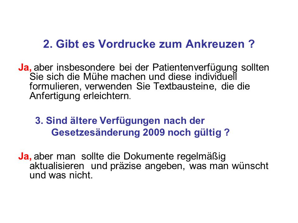 Formblatt Vollmachten und Verfügungen A.Vorsorge-Vollmacht mit B.