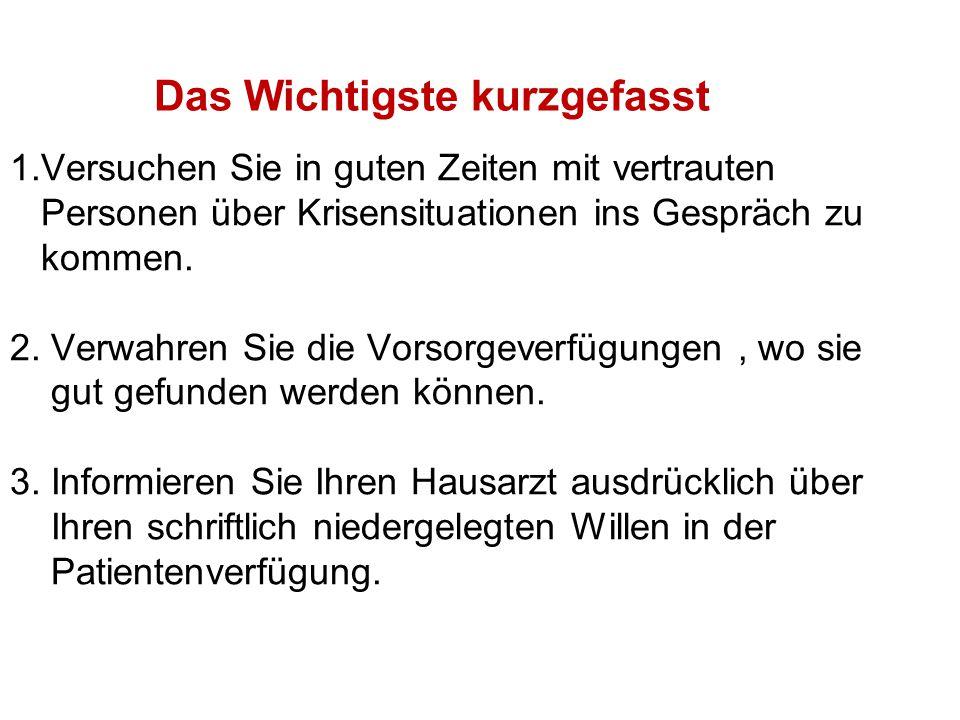 Vollmachten und Verfügungen A.Vorsorge–Vollmacht B.