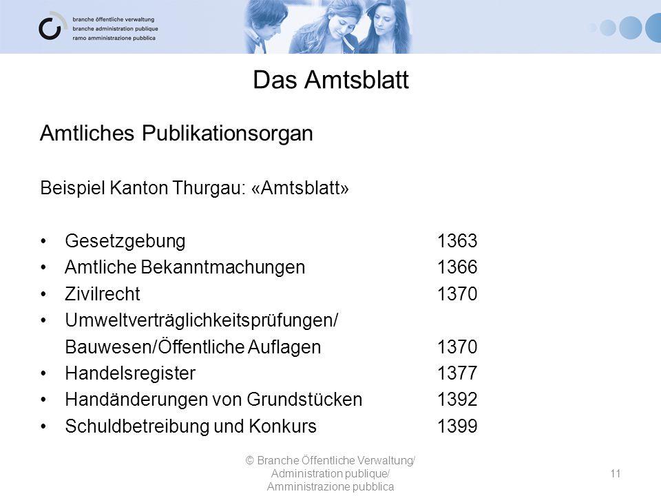 Amtliches Publikationsorgan Beispiel Kanton Thurgau: «Amtsblatt» Gesetzgebung 1363 Amtliche Bekanntmachungen 1366 Zivilrecht 1370 Umweltverträglichkei