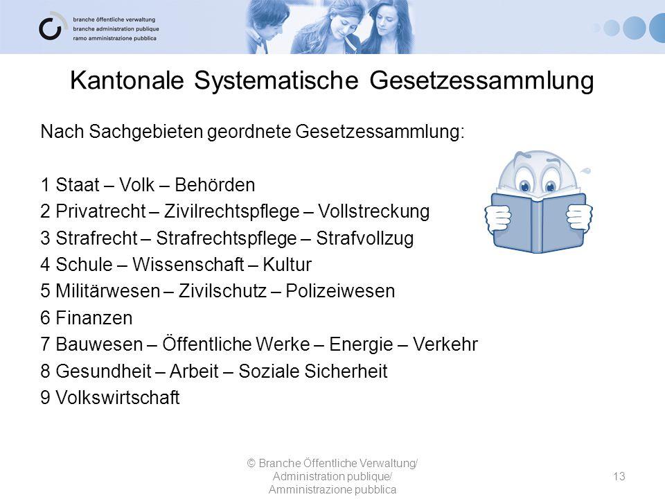 Kantonale Systematische Gesetzessammlung Nach Sachgebieten geordnete Gesetzessammlung: 1 Staat – Volk – Behörden 2 Privatrecht – Zivilrechtspflege – V