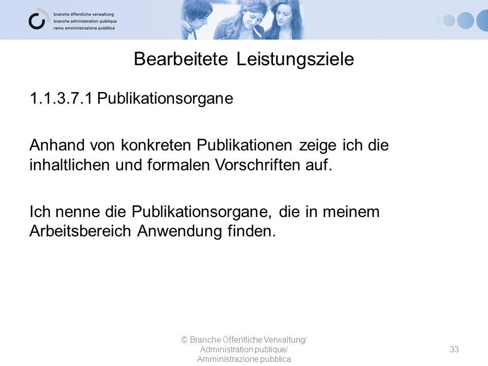 Bearbeitete Leistungsziele 1.1.3.7.1 Publikationsorgane Anhand von konkreten Publikationen zeige ich die inhaltlichen und formalen Vorschriften auf. I