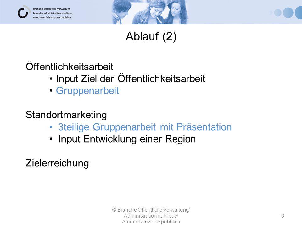 Ablauf (2) Öffentlichkeitsarbeit Input Ziel der Öffentlichkeitsarbeit Gruppenarbeit Standortmarketing 3teilige Gruppenarbeit mit Präsentation Input En