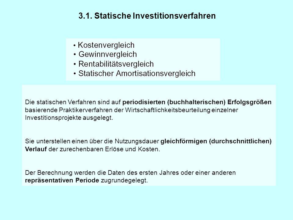 Die statischen Verfahren sind auf periodisierten (buchhalterischen) Erfolgsgrößen basierende Praktikerverfahren der Wirtschaftlichkeitsbeurteilung ein