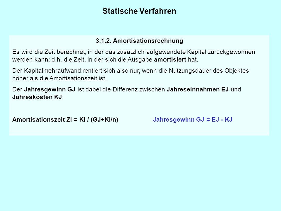 Statische Verfahren 3.1.2. Amortisationsrechnung Es wird die Zeit berechnet, in der das zusätzlich aufgewendete Kapital zurückgewonnen werden kann; d.