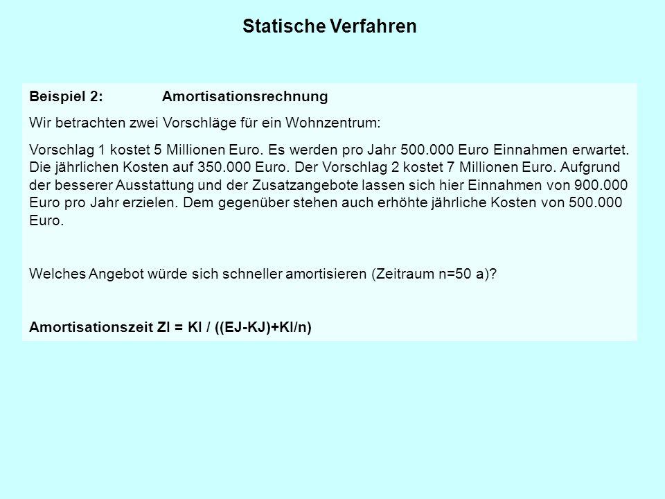 Statische Verfahren Beispiel 2:Amortisationsrechnung Wir betrachten zwei Vorschläge für ein Wohnzentrum: Vorschlag 1 kostet 5 Millionen Euro. Es werde
