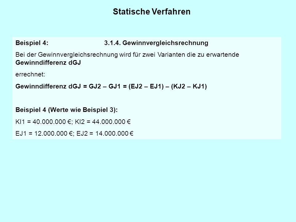 Statische Verfahren Beispiel 4: 3.1.4. Gewinnvergleichsrechnung Bei der Gewinnvergleichsrechnung wird für zwei Varianten die zu erwartende Gewinndiffe