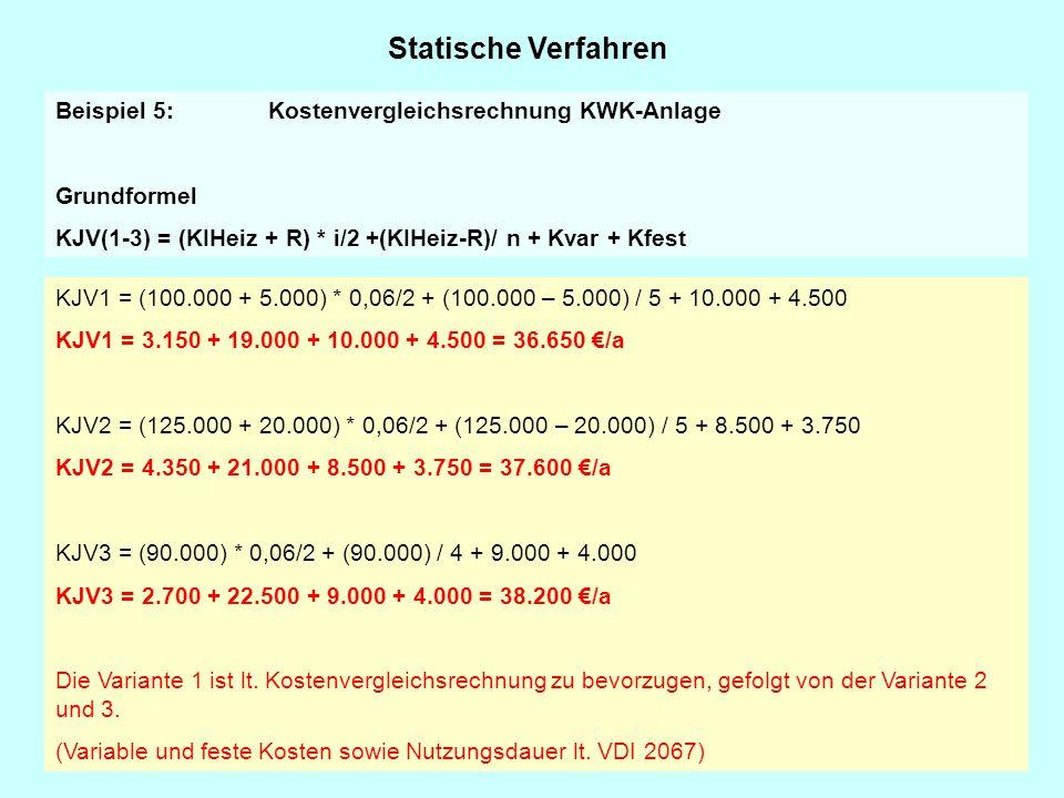 Statische Verfahren Beispiel 5: Kostenvergleichsrechnung KWK-Anlage Grundformel KJV(1-3) = (KIHeiz + R) * i/2 +(KIHeiz-R)/ n + Kvar + Kfest KJV1 = (10