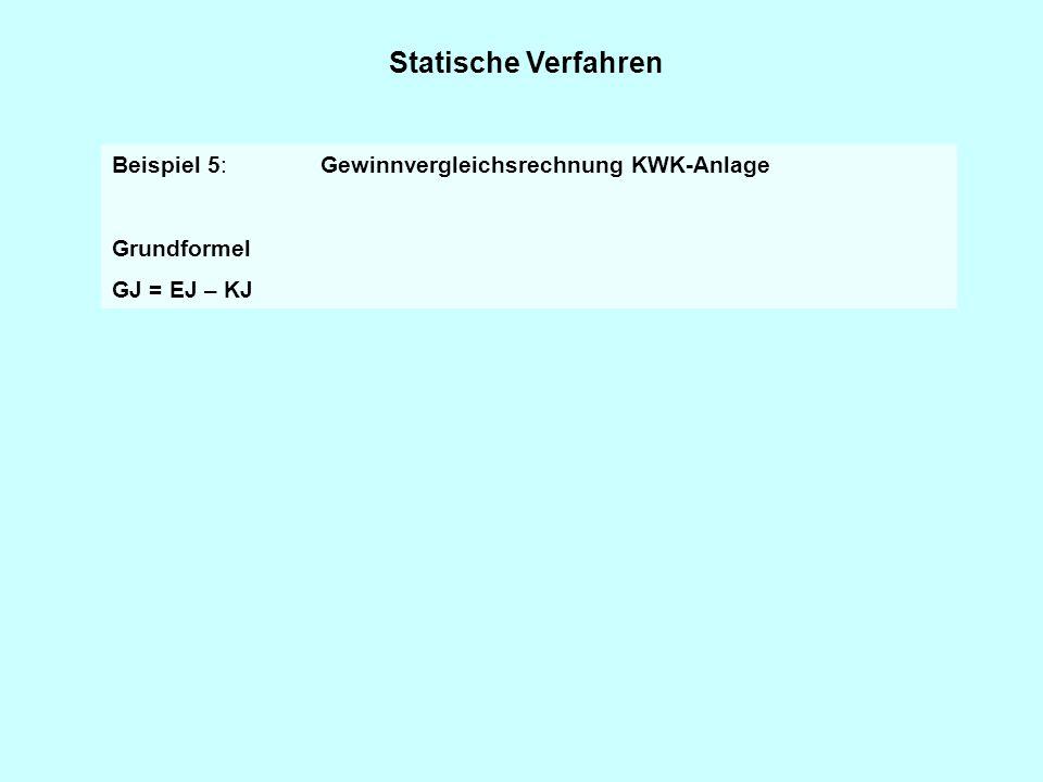 Statische Verfahren Beispiel 5: Gewinnvergleichsrechnung KWK-Anlage Grundformel GJ = EJ – KJ
