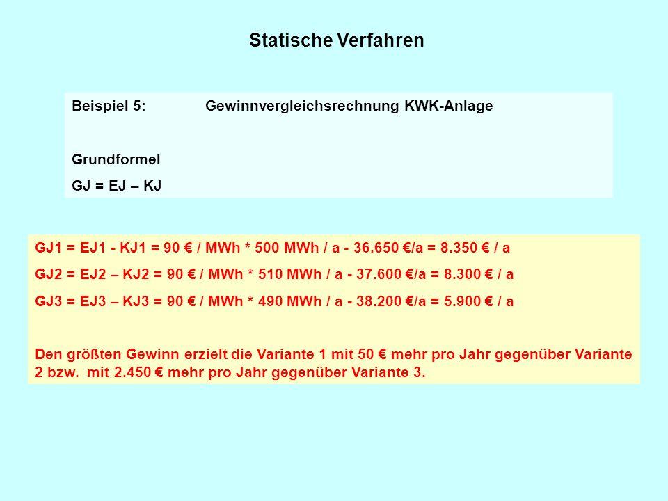 Statische Verfahren GJ1 = EJ1 - KJ1 = 90 € / MWh * 500 MWh / a - 36.650 €/a = 8.350 € / a GJ2 = EJ2 – KJ2 = 90 € / MWh * 510 MWh / a - 37.600 €/a = 8.