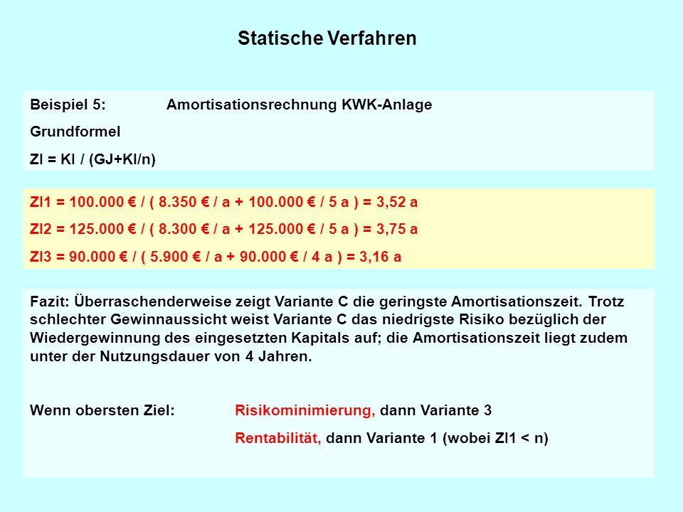 Statische Verfahren Beispiel 5: Amortisationsrechnung KWK-Anlage Grundformel ZI = KI / (GJ+KI/n) ZI1 = 100.000 € / ( 8.350 € / a + 100.000 € / 5 a ) =