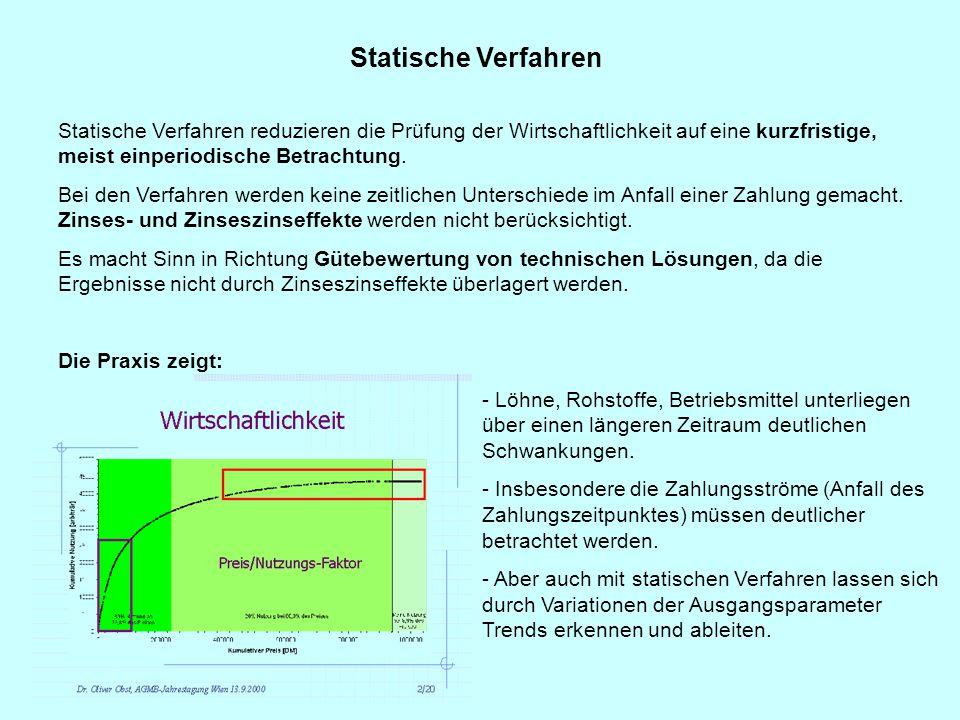 Statische Verfahren Statische Verfahren reduzieren die Prüfung der Wirtschaftlichkeit auf eine kurzfristige, meist einperiodische Betrachtung. Bei den