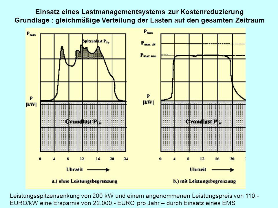 Einsatz eines Lastmanagementsystems zur Kostenreduzierung Grundlage : gleichmäßige Verteilung der Lasten auf den gesamten Zeitraum Leistungsspitzensen