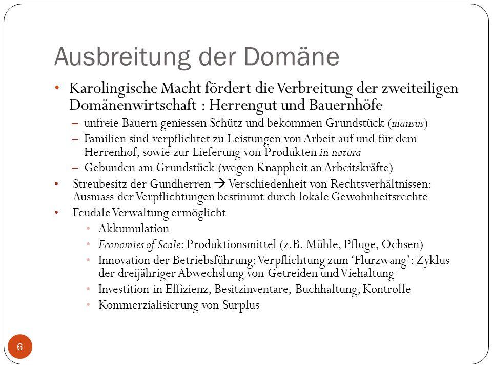 Ausbreitung der Domäne 6 Karolingische Macht fördert die Verbreitung der zweiteiligen Domänenwirtschaft : Herrengut und Bauernhöfe – unfreie Bauern ge