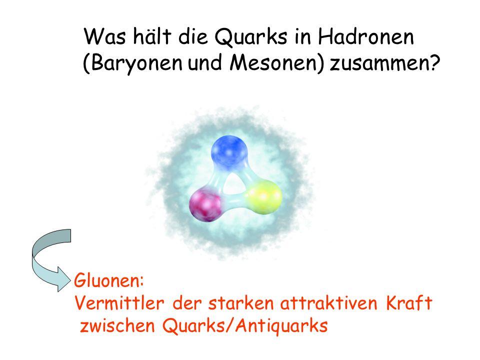 Was hält die Quarks in Hadronen (Baryonen und Mesonen) zusammen.