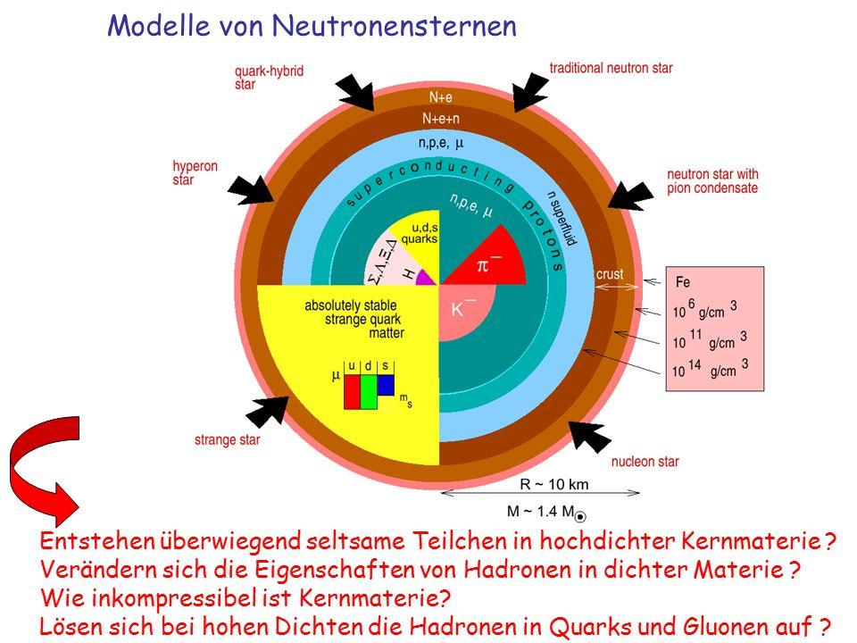 Modelle von Neutronensternen Entstehen überwiegend seltsame Teilchen in hochdichter Kernmaterie .