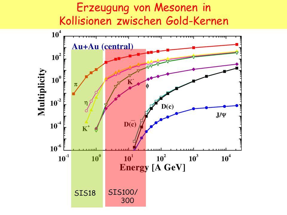 SIS18 SIS100/ 300 Erzeugung von Mesonen in Kollisionen zwischen Gold-Kernen