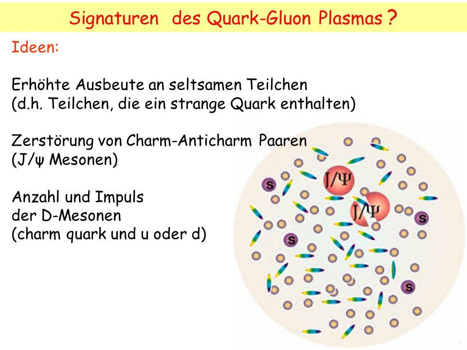 Signaturen des Quark-Gluon Plasmas .Ideen: Erhöhte Ausbeute an seltsamen Teilchen (d.h.