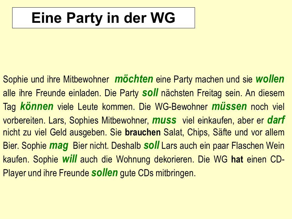 Eine Party in der WG Sophie und ihre Mitbewohner möchten eine Party machen und sie wollen alle ihre Freunde einladen. Die Party soll nächsten Freitag