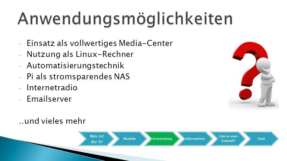 - Einsatz als vollwertiges Media-Center - Nutzung als Linux-Rechner - Automatisierungstechnik - Pi als stromsparendes NAS - Internetradio - Emailserver..und vieles mehr Was ist der Pi .
