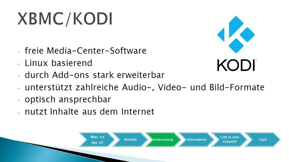 - freie Media-Center-Software - Linux basierend - durch Add-ons stark erweiterbar - unterstützt zahlreiche Audio-, Video- und Bild-Formate - optisch ansprechbar - nutzt Inhalte aus dem Internet Was ist der Pi .