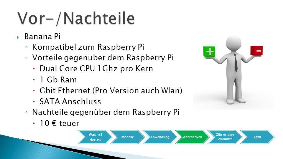  Banana Pi ◦ Kompatibel zum Raspberry Pi ◦ Vorteile gegenüber dem Raspberry Pi  Dual Core CPU 1Ghz pro Kern  1 Gb Ram  Gbit Ethernet (Pro Version auch Wlan)  SATA Anschluss ◦ Nachteile gegenüber dem Raspberry Pi  10 € teuer Was ist der Pi .