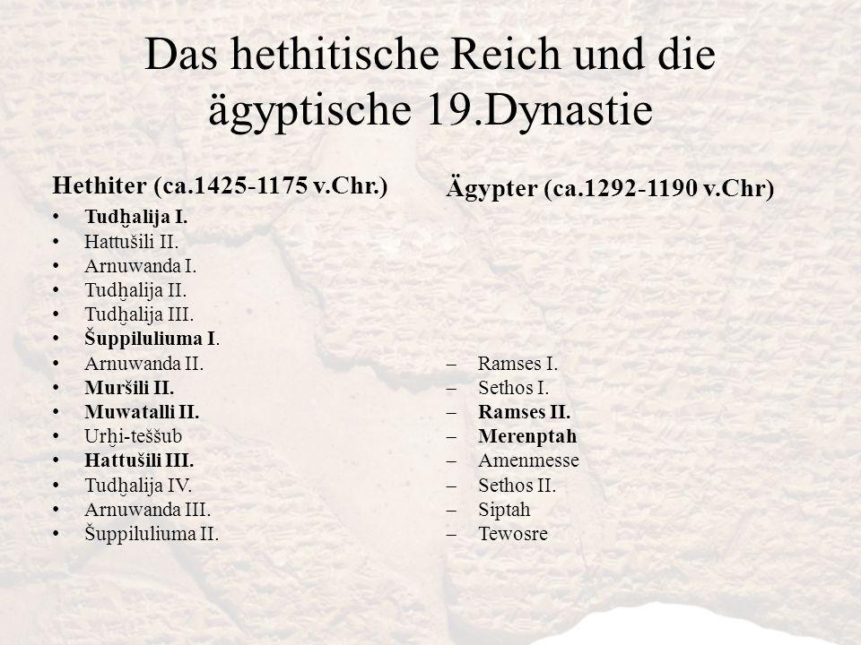 Das hethitische Reich und die ägyptische 19.Dynastie Hethiter (ca.1425-1175 v.Chr.) Tud ḫ alija I. Hattušili II. Arnuwanda I. Tud ḫ alija II. Tud ḫ al