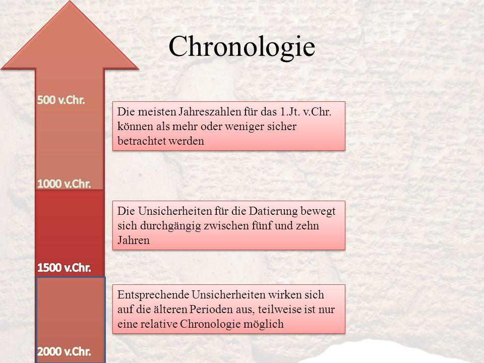 Chronologie Die meisten Jahreszahlen für das 1.Jt. v.Chr. können als mehr oder weniger sicher betrachtet werden Die Unsicherheiten für die Datierung b