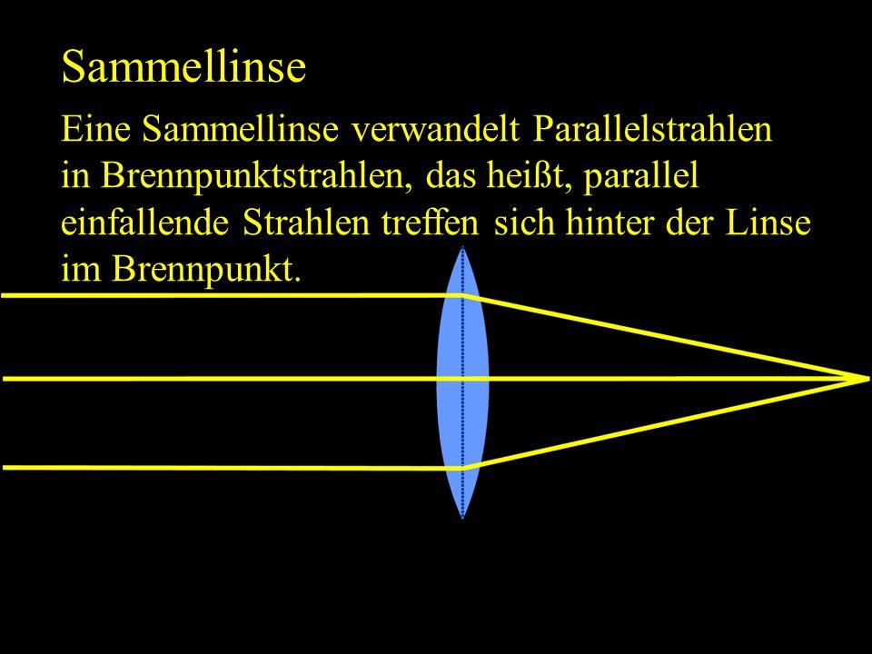 Sammellinse Eine Sammellinse verwandelt Parallelstrahlen in Brennpunktstrahlen, das heißt, parallel einfallende Strahlen treffen sich hinter der Linse