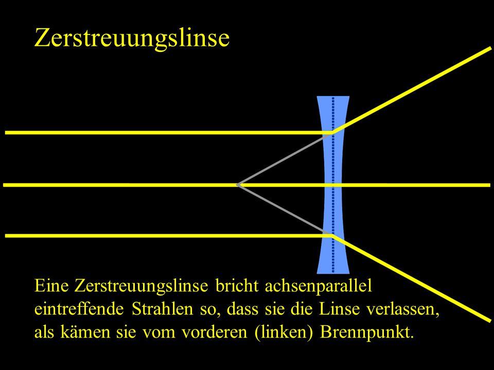 Zerstreuungslinse Eine Zerstreuungslinse bricht achsenparallel eintreffende Strahlen so, dass sie die Linse verlassen, als kämen sie vom vorderen (lin