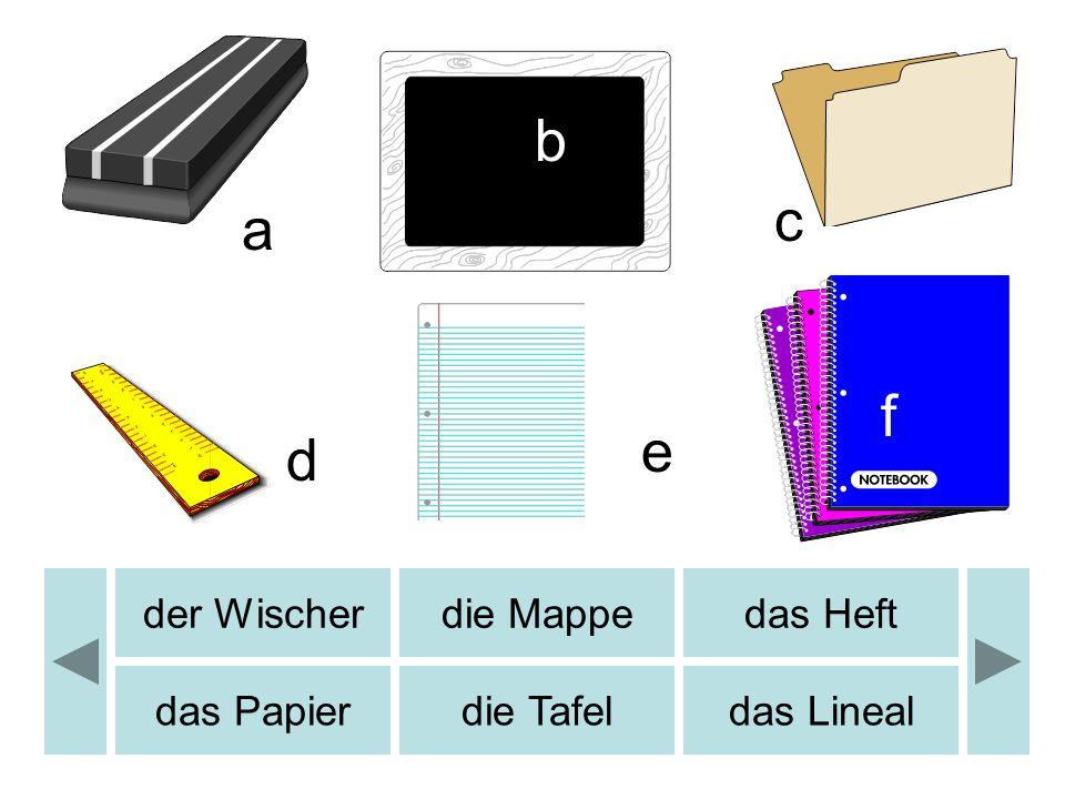 der Wischerdie Mappedas Heft das Papierdie Tafeldas Lineal a b c d e f