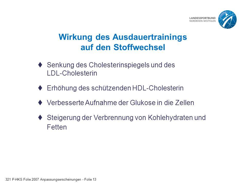 Wirkung des Ausdauertrainings auf den Stoffwechsel 321 P-HKS Folie 2007 Anpassungserscheinungen - Folie 13  Senkung des Cholesterinspiegels und des LDL-Cholesterin  Erhöhung des schützenden HDL-Cholesterin  Verbesserte Aufnahme der Glukose in die Zellen  Steigerung der Verbrennung von Kohlehydraten und Fetten