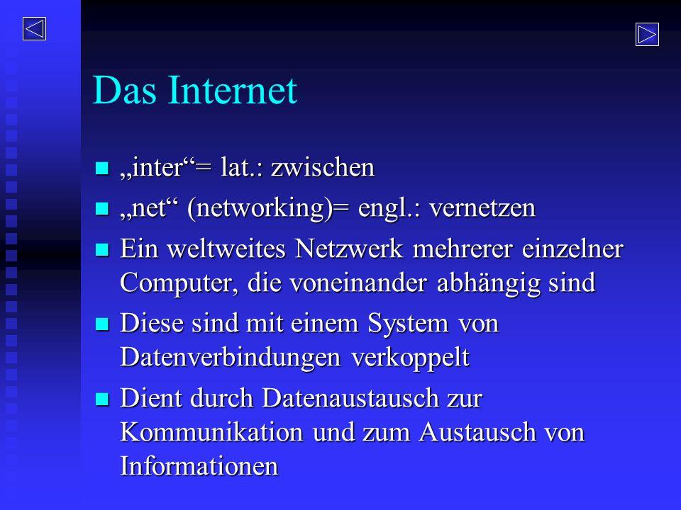 """Das Internet """"inter""""= lat.: zwischen """"inter""""= lat.: zwischen """"net"""" (networking)= engl.: vernetzen """"net"""" (networking)= engl.: vernetzen Ein weltweites"""