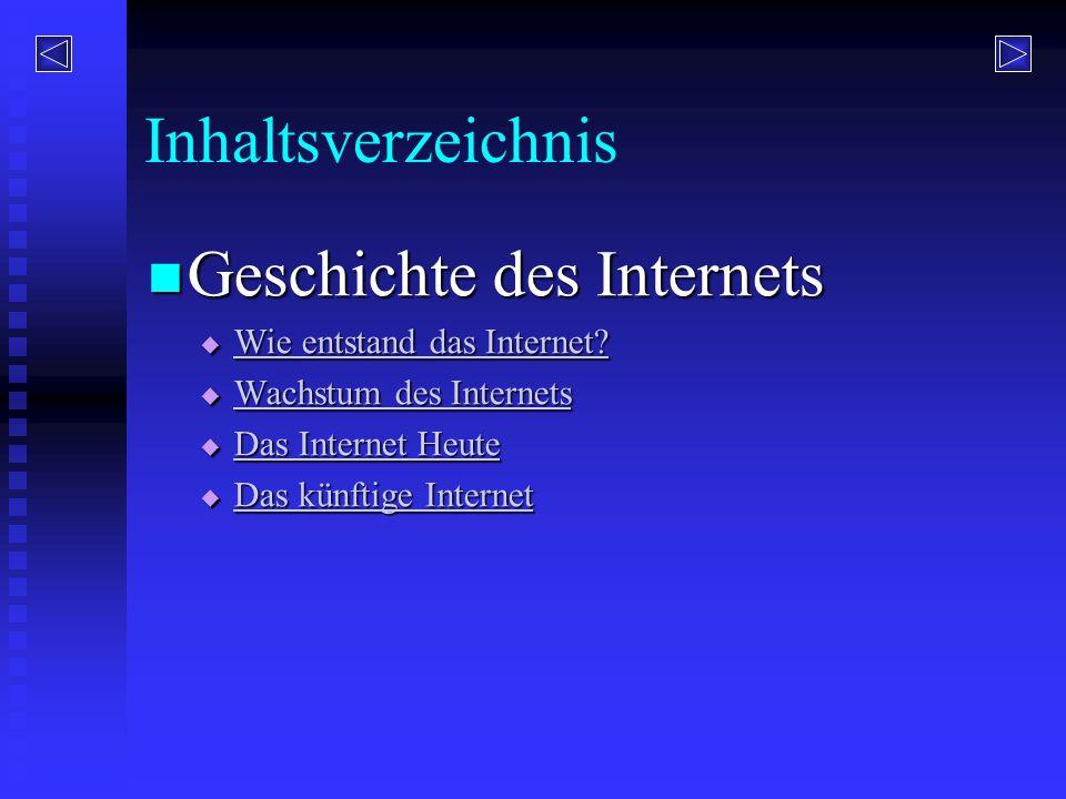 Inhaltsverzeichnis Geschichte des Internets Geschichte des Internets  Wie entstand das Internet? Wie entstand das Internet? Wie entstand das Internet