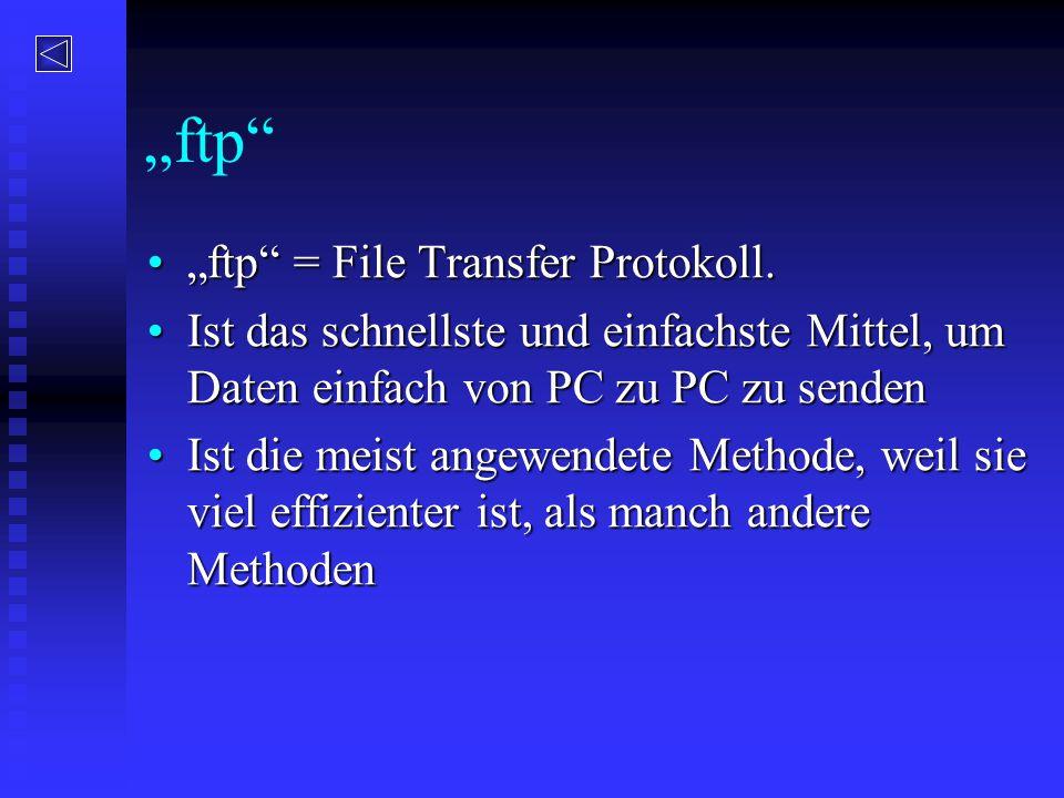 """""""ftp"""" """"ftp"""" = File Transfer Protokoll.""""ftp"""" = File Transfer Protokoll. Ist das schnellste und einfachste Mittel, um Daten einfach von PC zu PC zu send"""