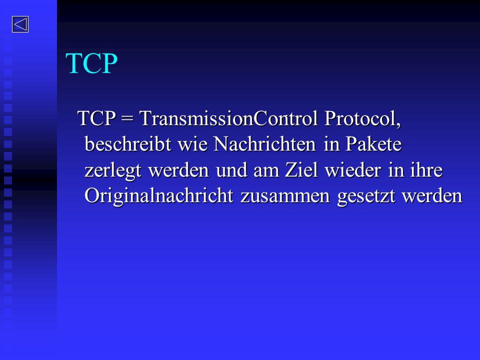 TCP TCP = TransmissionControl Protocol, beschreibt wie Nachrichten in Pakete zerlegt werden und am Ziel wieder in ihre Originalnachricht zusammen gese