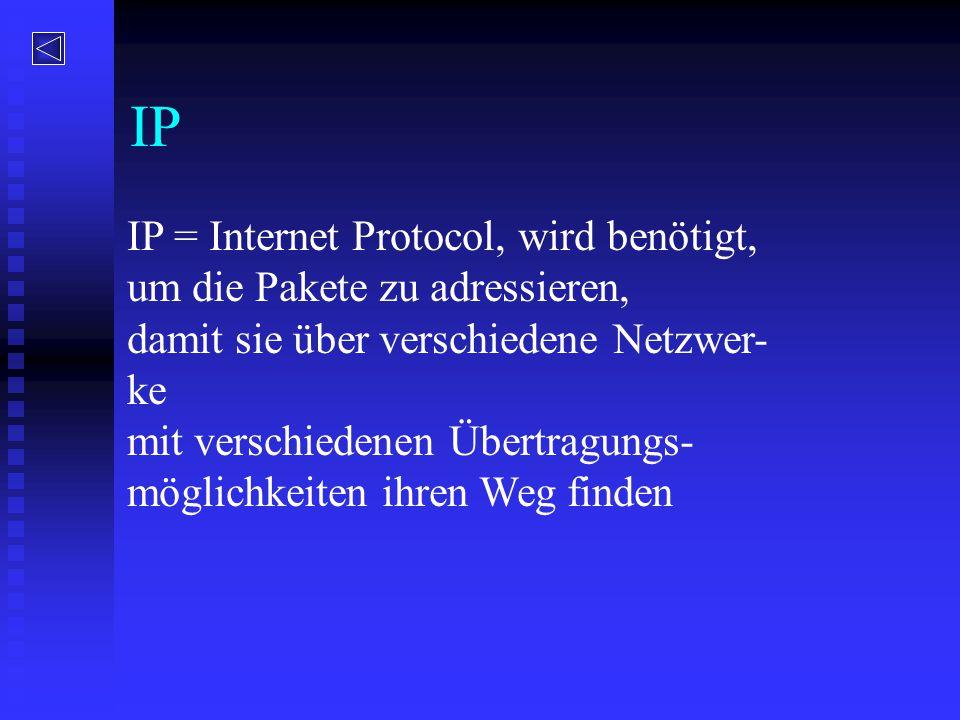 IP IP = Internet Protocol, wird benötigt, um die Pakete zu adressieren, damit sie über verschiedene Netzwer- ke mit verschiedenen Übertragungs- möglic