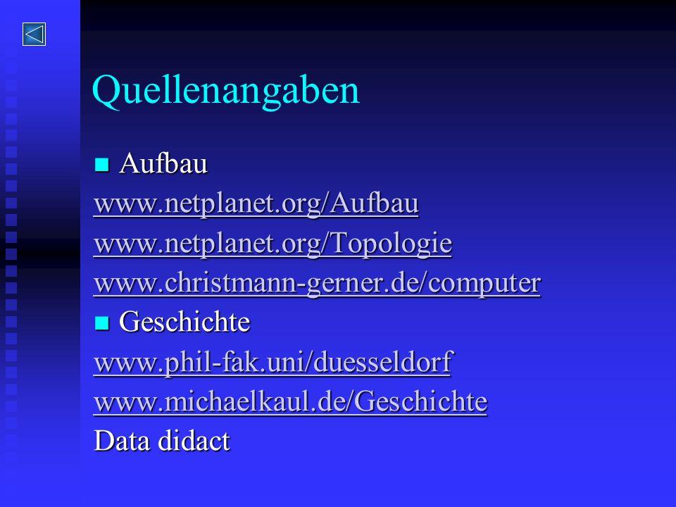 Quellenangaben Aufbau Aufbau www.netplanet.org/Aufbau www.netplanet.org/Topologie www.christmann-gerner.de/computer Geschichte Geschichte www.phil-fak