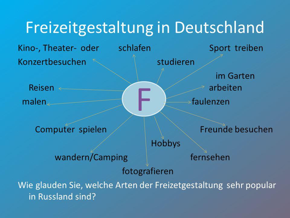 Freizeitgestaltung in Deutschland Kino-, Theater- oder schlafen Sport treiben Konzertbesuchen studieren im Garten Reisen arbeiten malenfaulenzen Compu