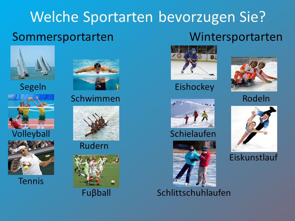 Welche Sportarten bevorzugen Sie? Sommersportarten Wintersportarten Segeln Eishockey Schwimmen Rodeln Volleyball Schielaufen Rudern Eiskunstlauf Tenni