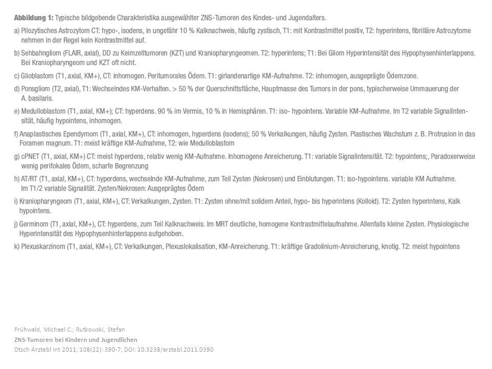 Frühwald, Michael C.; Rutkowski, Stefan ZNS-Tumoren bei Kindern und Jugendlichen Dtsch Arztebl Int 2011; 108(22): 390-7; DOI: 10.3238/arztebl.2011.039