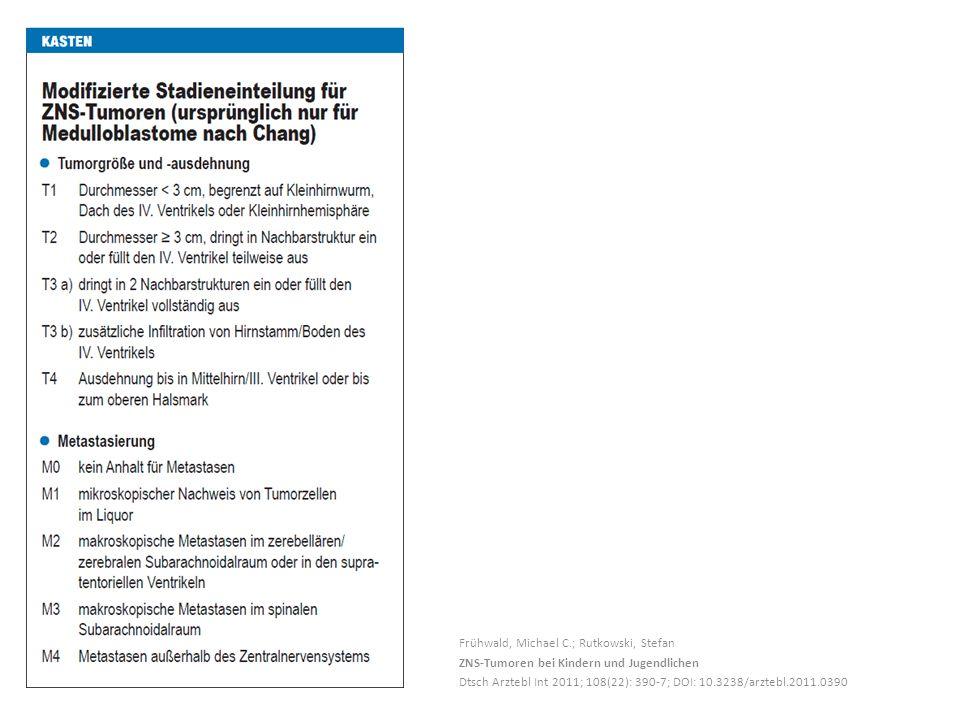 Frühwald, Michael C.; Rutkowski, Stefan ZNS-Tumoren bei Kindern und Jugendlichen Dtsch Arztebl Int 2011; 108(22): 390-7; DOI: 10.3238/arztebl.2011.0390