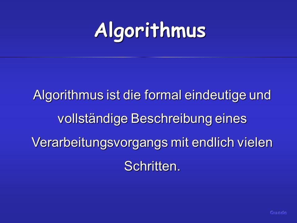 Algorithmus Algorithmus ist die formal eindeutige und vollständige Beschreibung eines Verarbeitungsvorgangs mit endlich vielen Schritten.