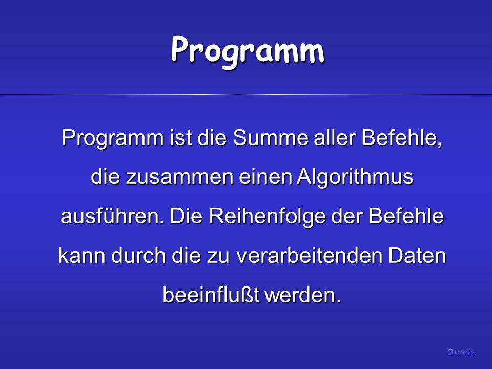 Programm Programm ist die Summe aller Befehle, die zusammen einen Algorithmus ausführen.