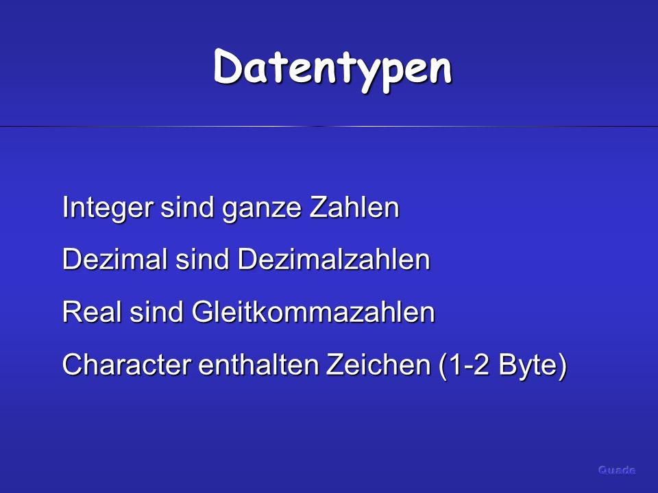 Datentypen Integer sind ganze Zahlen Dezimal sind Dezimalzahlen Real sind Gleitkommazahlen Character enthalten Zeichen (1-2 Byte)