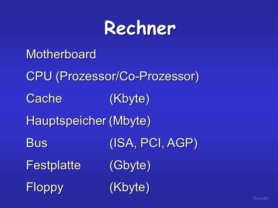 Rechner Motherboard CPU (Prozessor/Co-Prozessor) Cache(Kbyte) Hauptspeicher (Mbyte) Bus(ISA, PCI, AGP) Festplatte(Gbyte) Floppy(Kbyte)